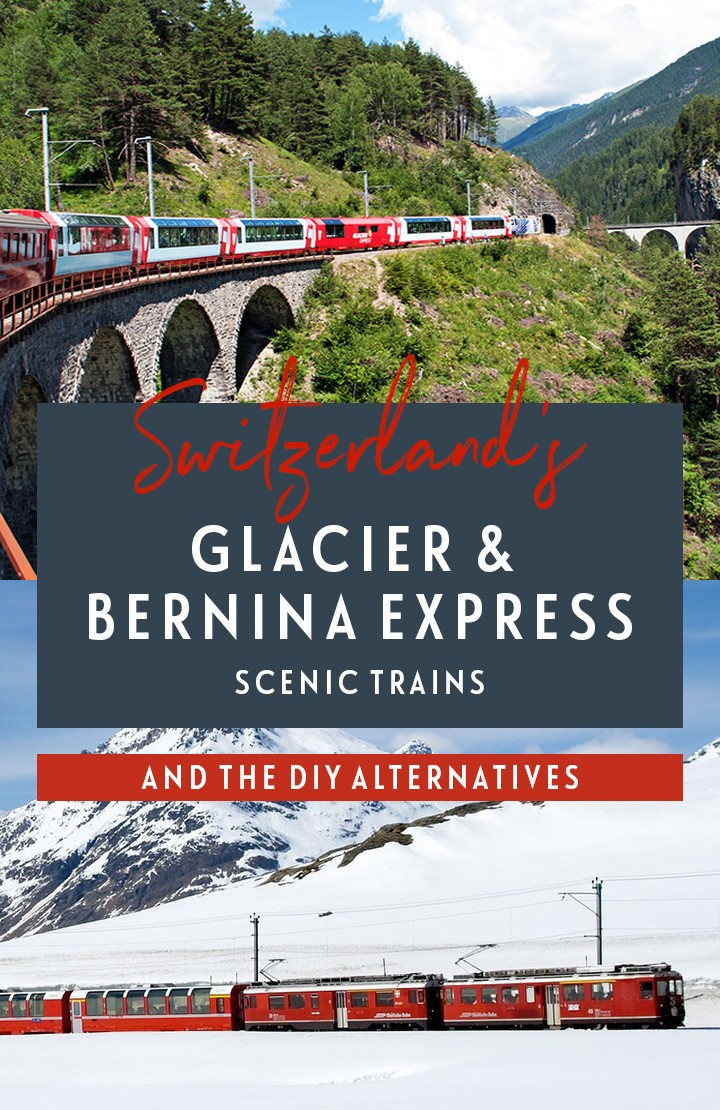 The Bernina and Glacier Express in Switzerland are two of Europe's more spectacular rail journeys. But are these Swiss scenic trains worth the cost or can you do it yourself cheaper? #GlacierExpress #BerninaExpress #Switzerland #train #railtravel