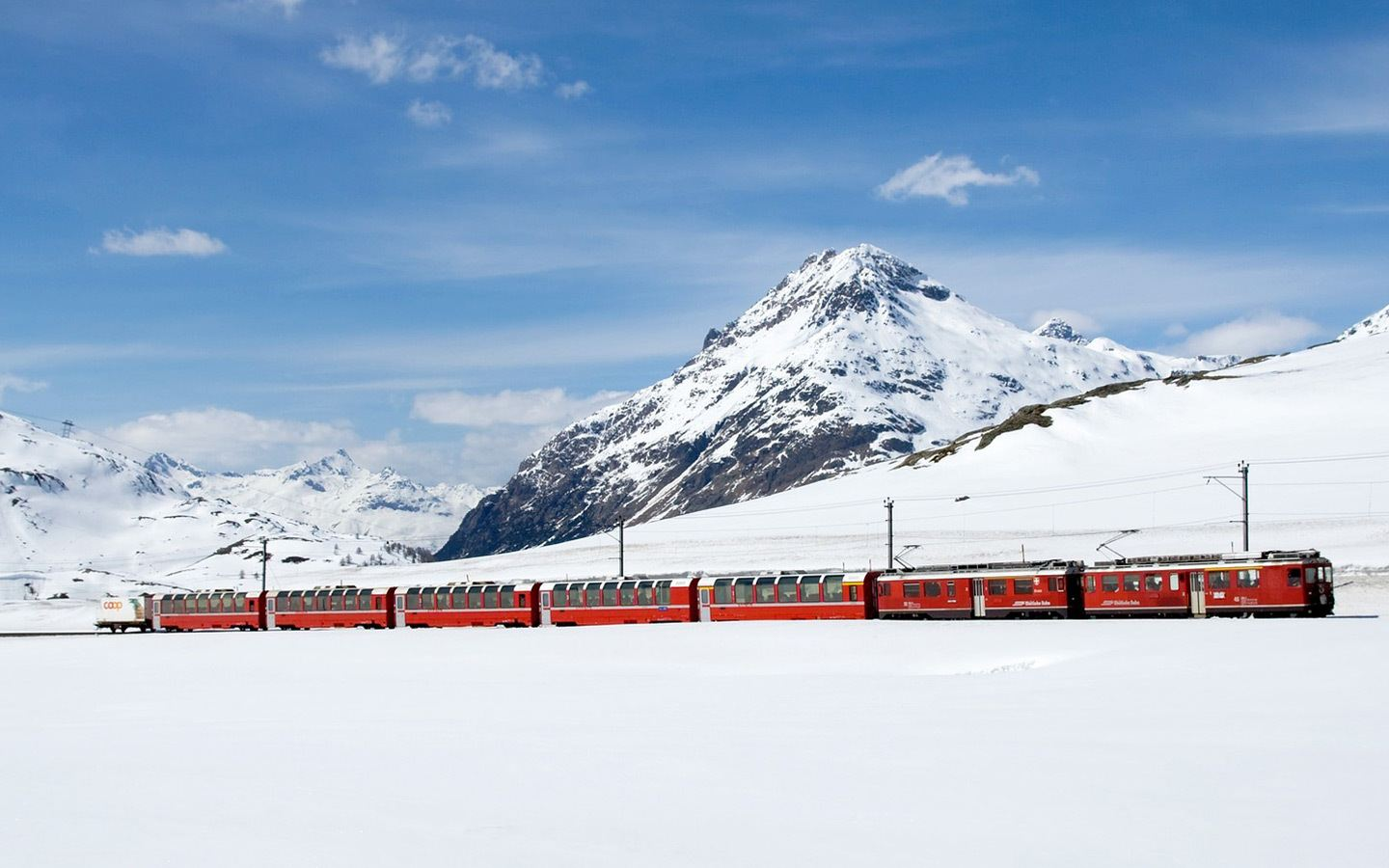 Winter on the Bernina Express scenic train in Switzerland