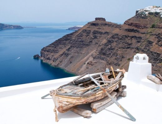 Blue and white in Fira, Santorini, Greece