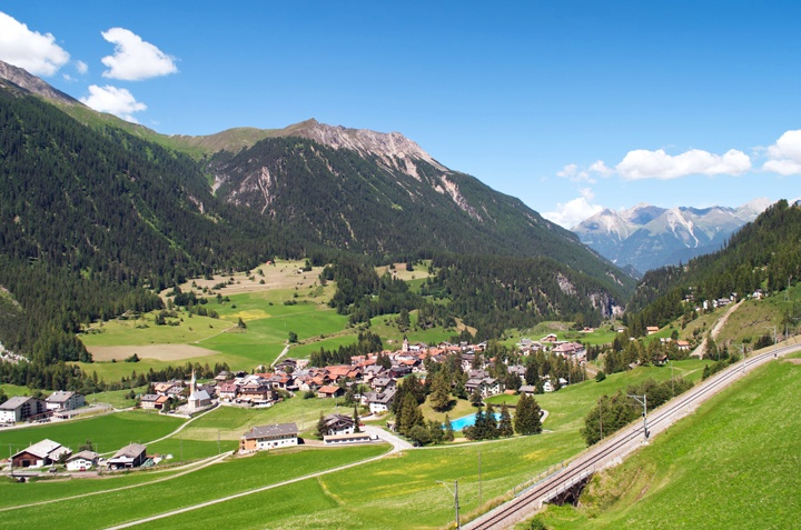 Views between Chur and St Moritz, Switzerland