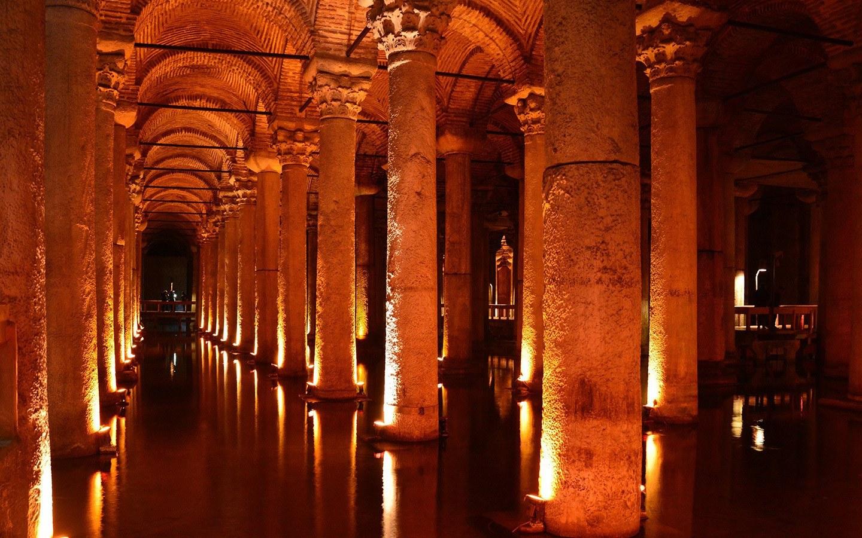 The Basilica Cistern underground archways