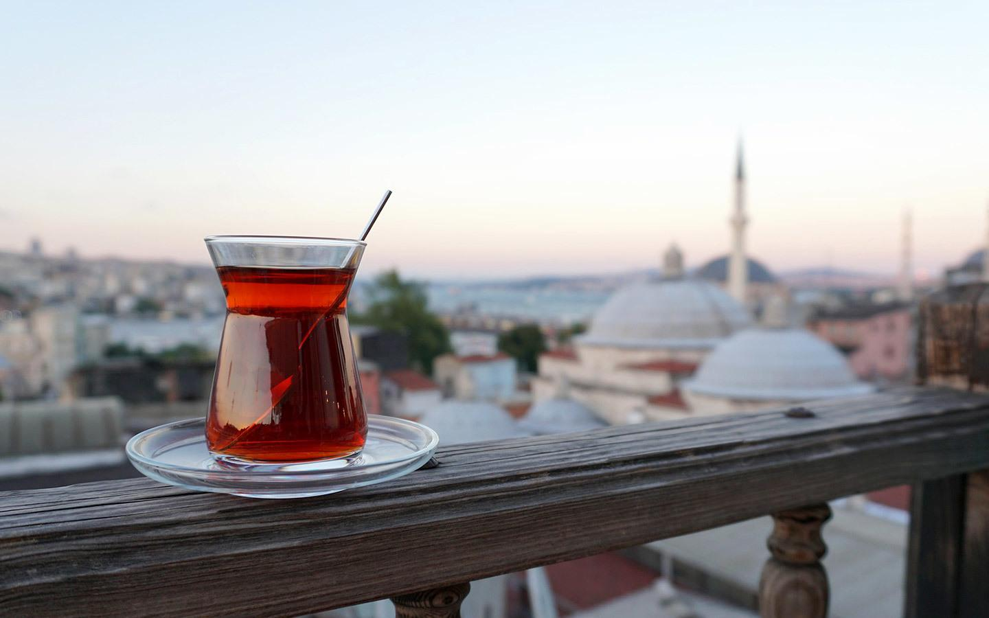 Cup of tea on a rooftop terrace overlooking Sultanahmet in Istanbul