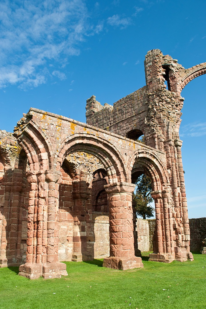 Among the ruins at one of Northumberland's most important religious sites – Lindisfarne Priory on Holy Island, attracting pilgrims for almost 1400 years.