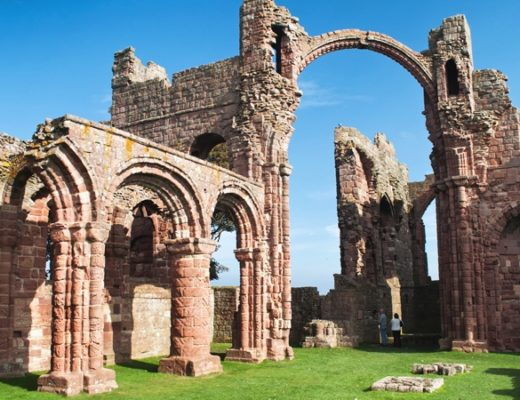 Lindisfarne Priory ruins in Northumberland