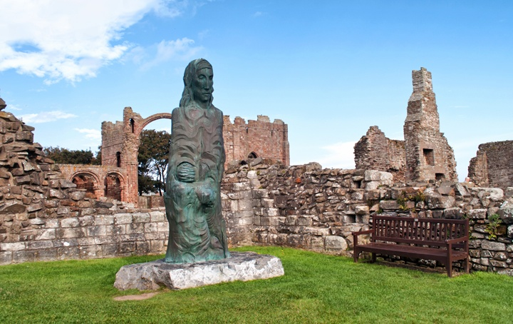 St Cuthbert statue, Lindisfarne Priory