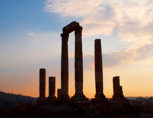Amman Citadel at sunset, Jordan