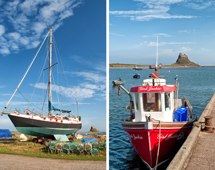 Boats on Lindisfarne Island