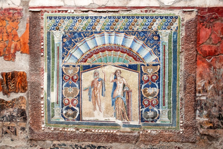 Beautifully preserved mosaic in Herculaneum