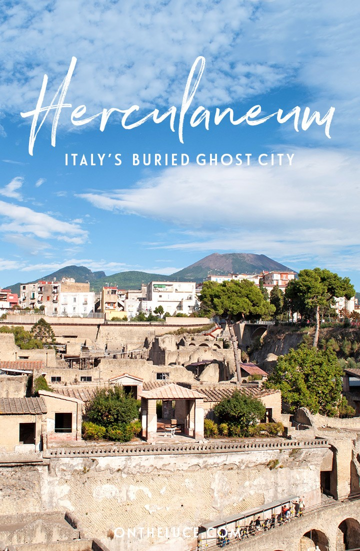 Visiting the Roman archaeological site of Herculaneum, a ghost city which was buried underground in the eruption of Vesuvius like famous neighbour Pompeii. #Herculaneum #Italy #Naples #archaeology #history #Romans