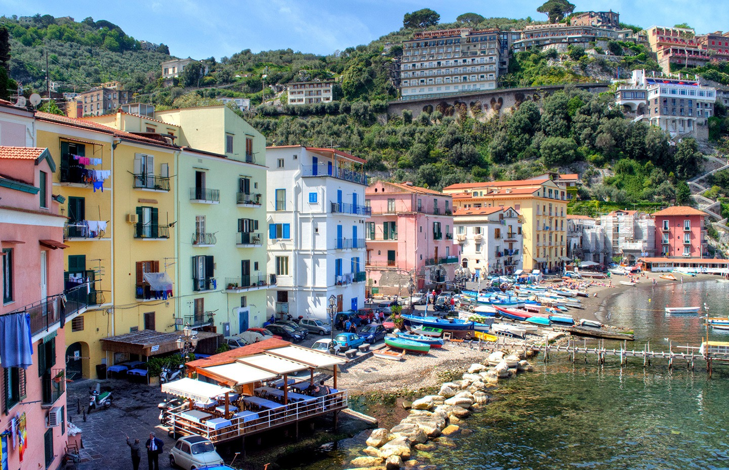 Pastel coloured buildings in Marina Grande Sorrento