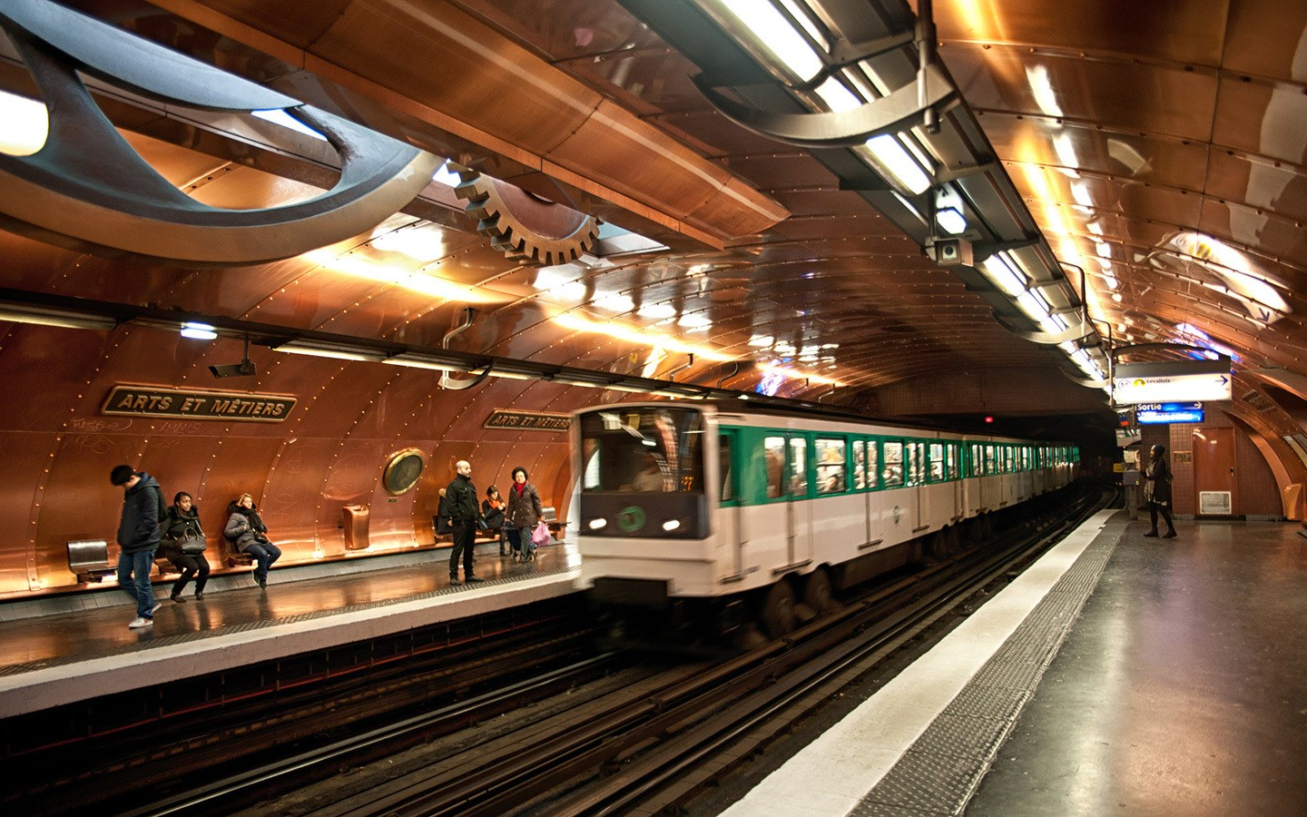 The steampunk-style metro station at Arts et Métiers in Paris
