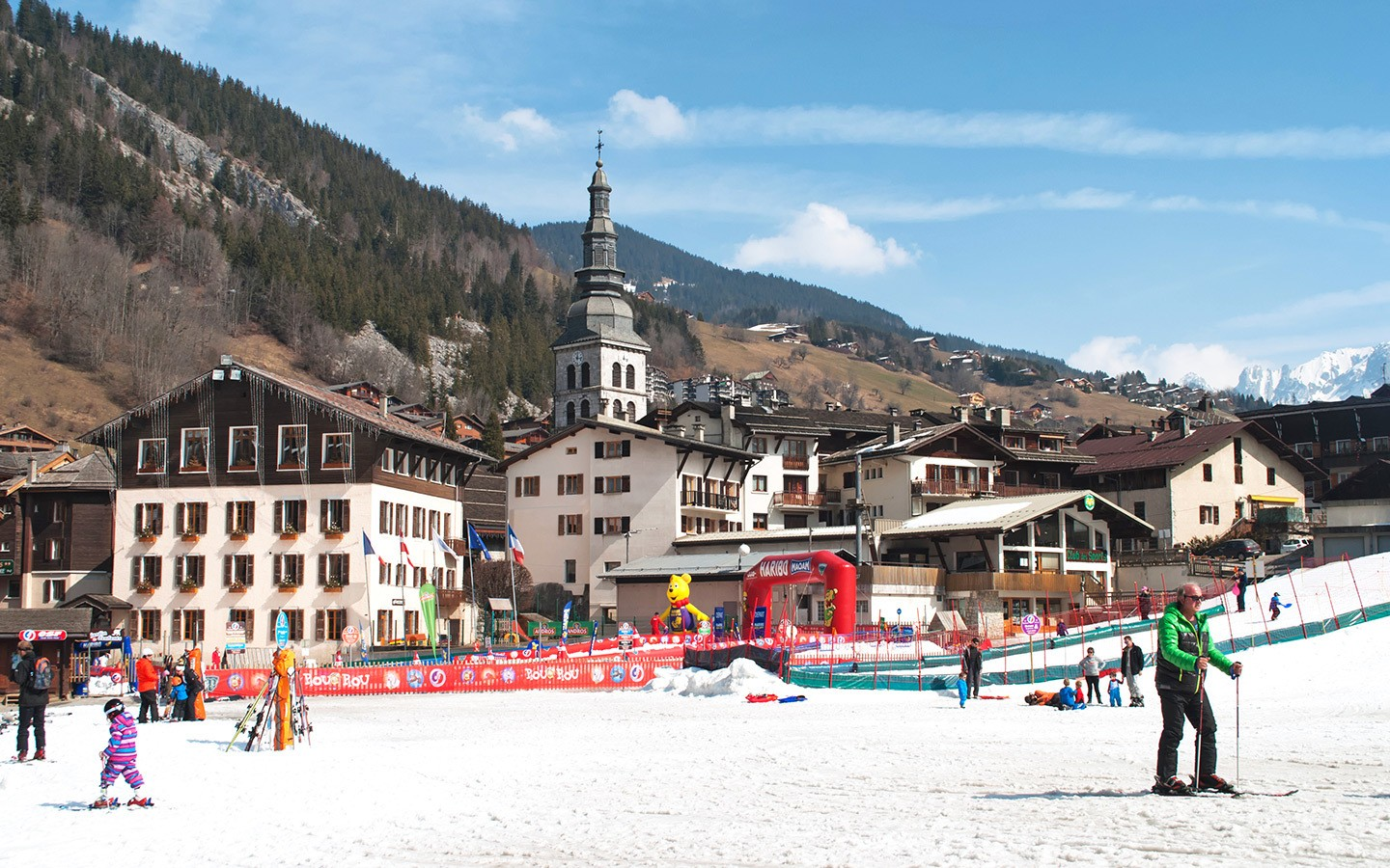 The Savoyard village of La Clusaz in France