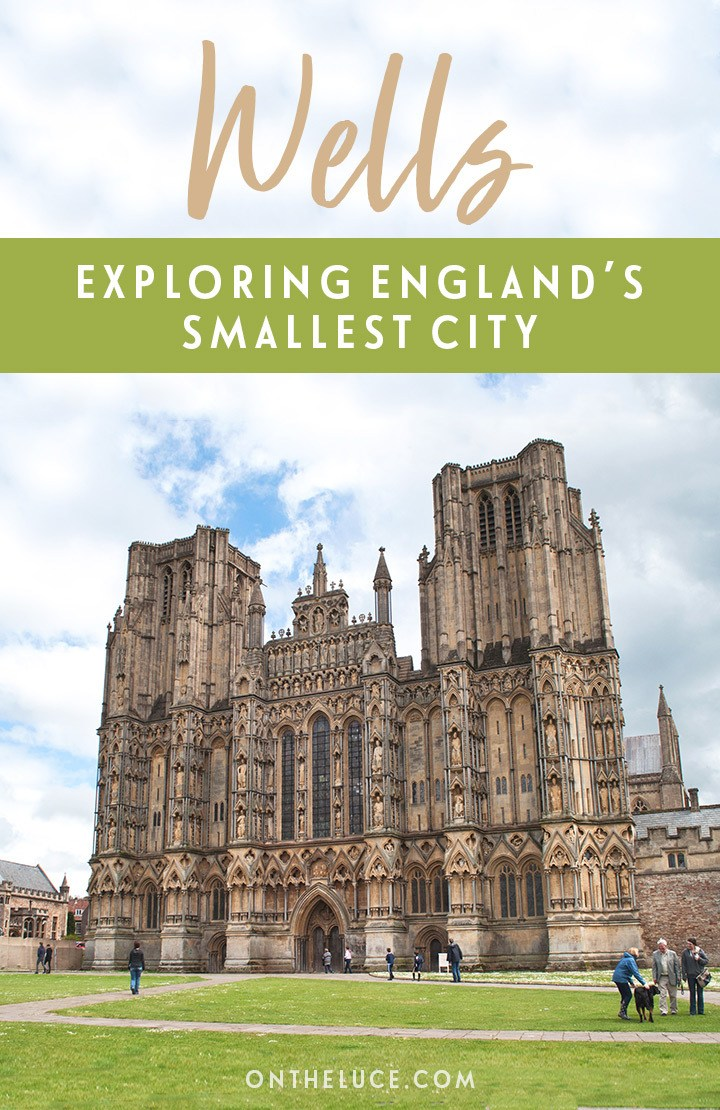 Exploring Wells in Somerset, England's smallest city, with what to see and do, from the historic cathedral and Bishop's Palace to locations from the film Hot Fuzz. #Somerset #England #Wells