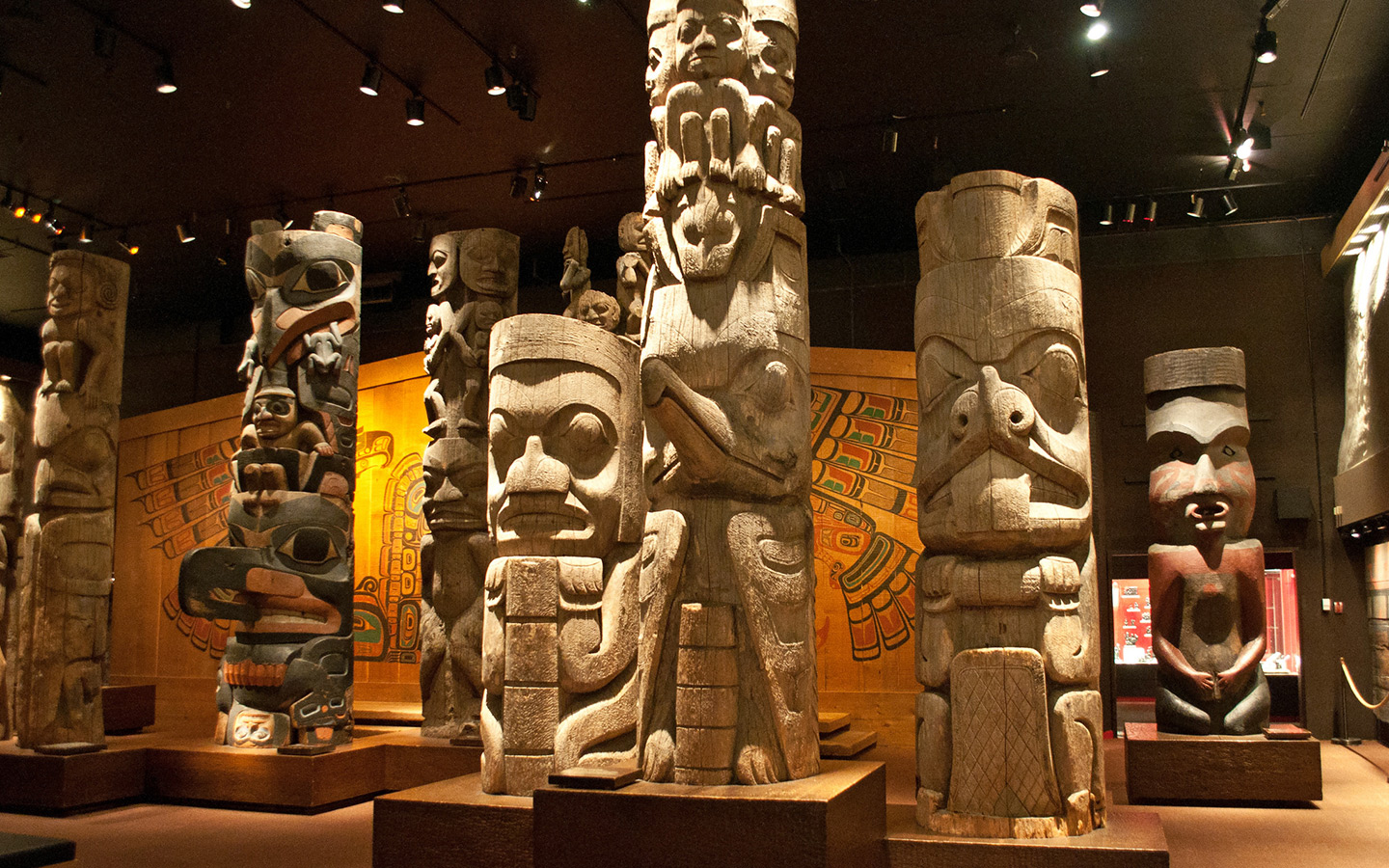 Totem poles in the Royal BC Museum