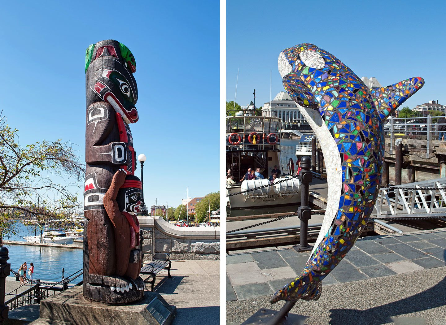 Totem pole and whale mosaic statue in Victoria Harbour, British Columbia