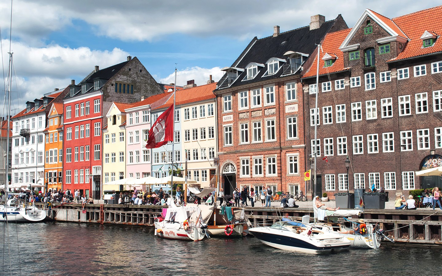 Along the waterfront in Nyhavn, Copenhagen