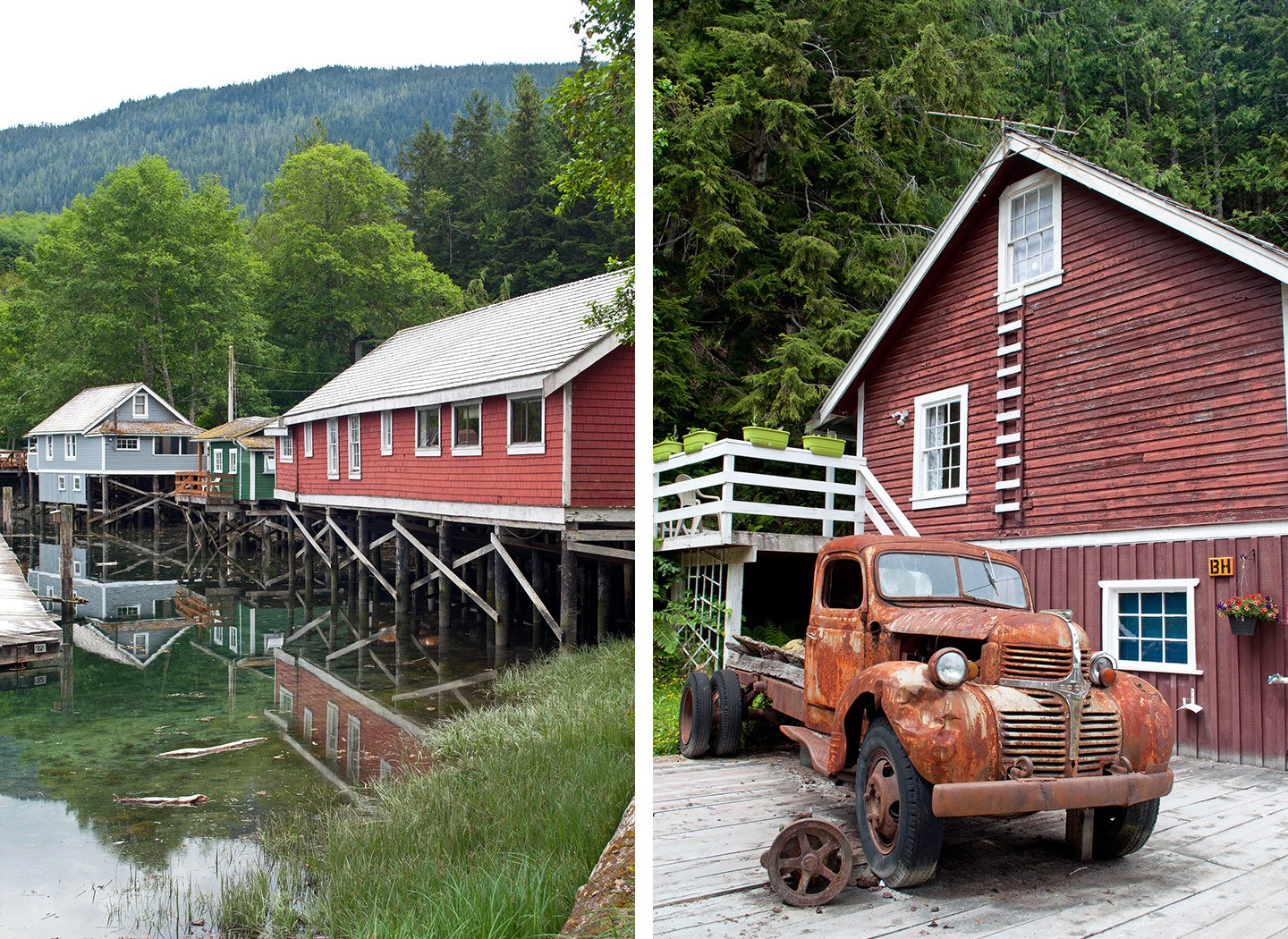 Wooden buildings and boardwalks at Telegraph Cove