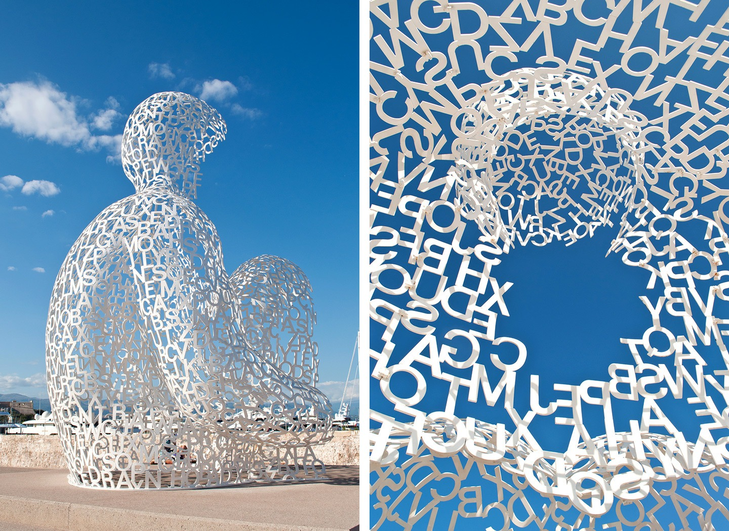 Jaume Plensa's Nomade statue, Antibes, South of France