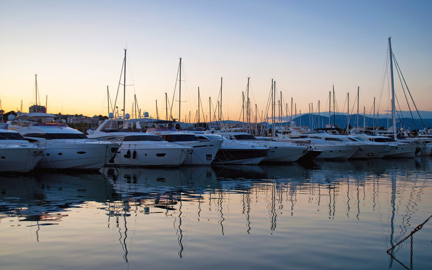 Yachts in the harbour in Antibes, South of France
