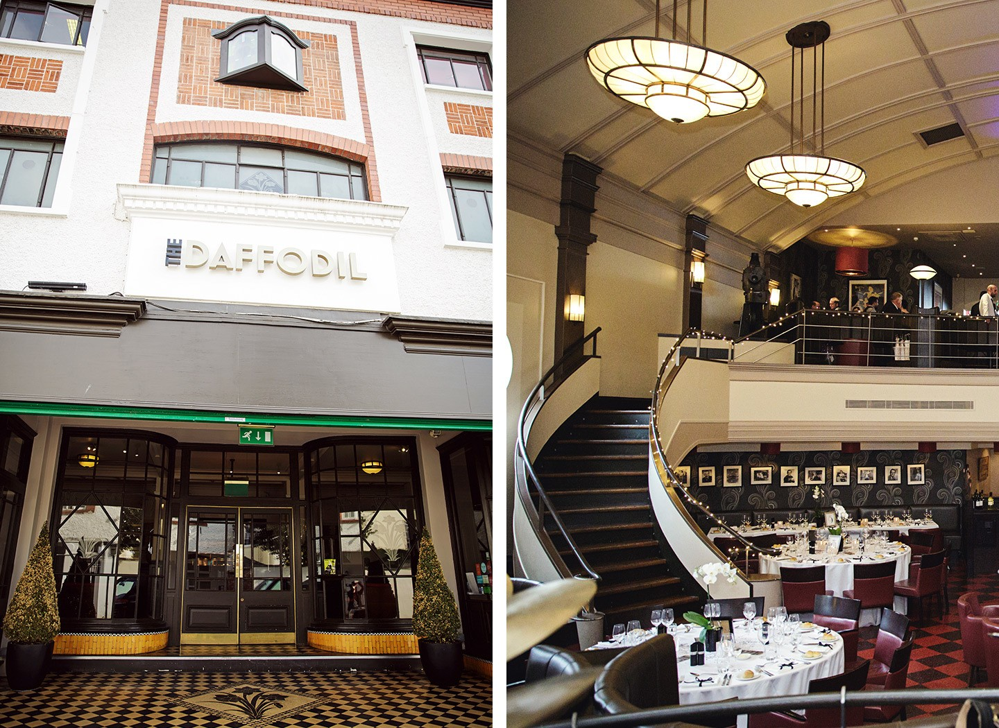 Exterior and interior of the Daffodil art deco restaurant in Cheltenham