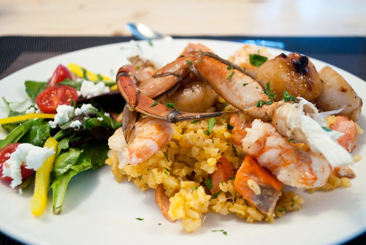 Seafood paella at the Great Bear Lodge
