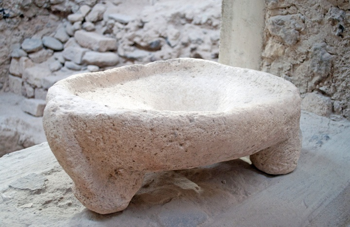 An original stone toilet from Akrotiri