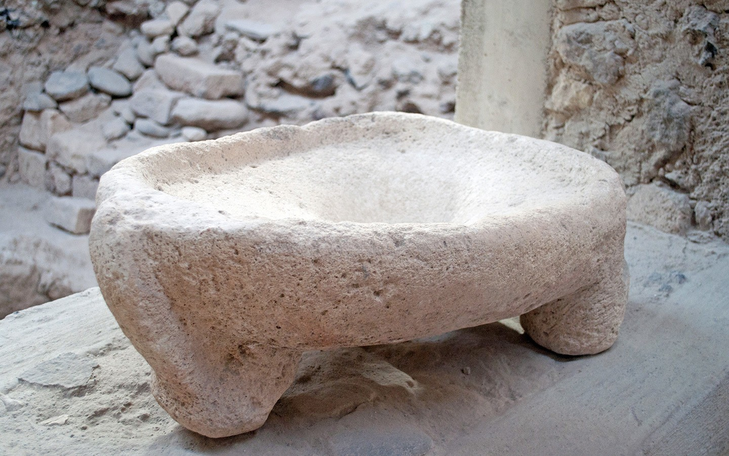 Ancient Minoan toilet at Akrotiri archaeological site