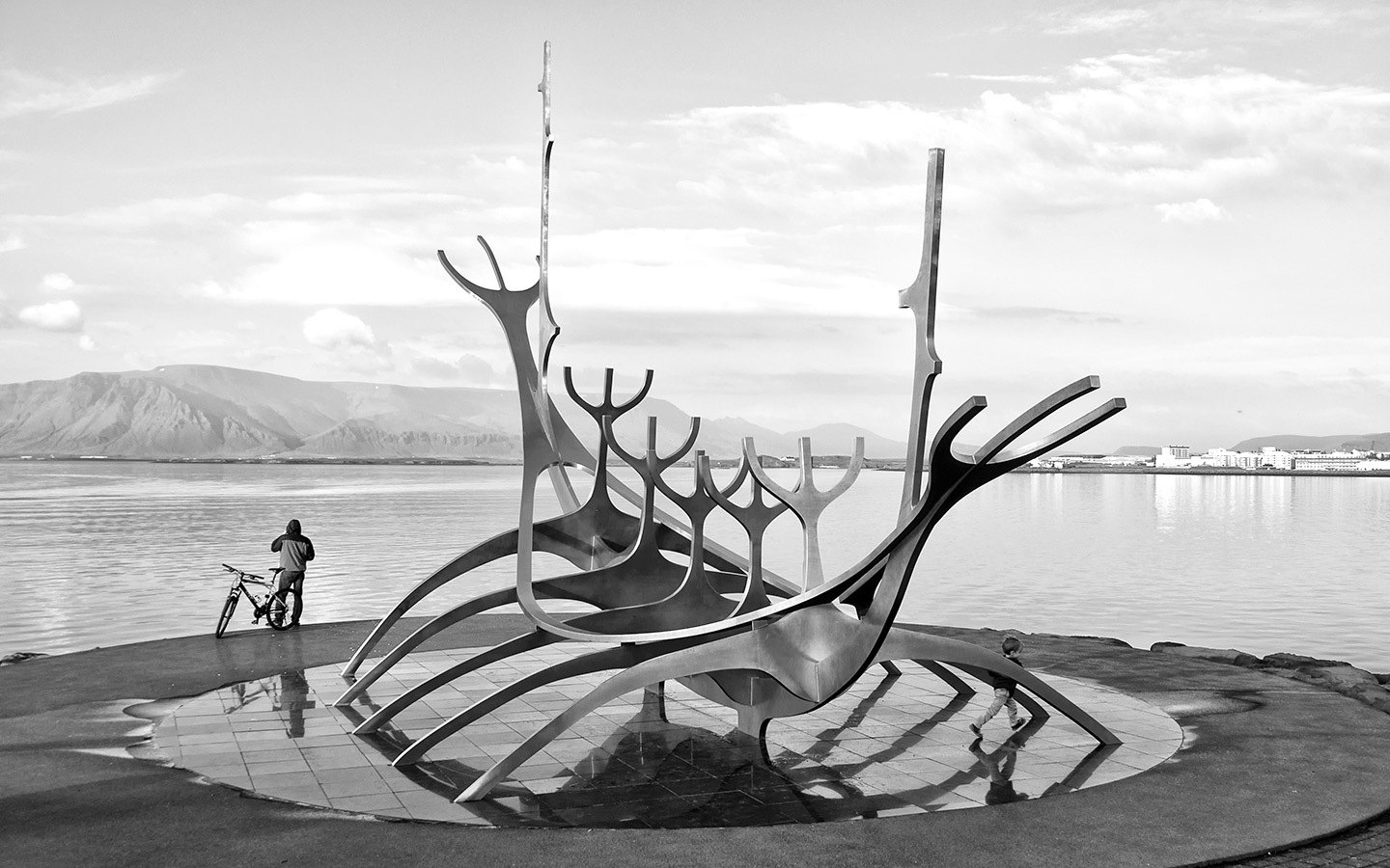 The Sun Voyager or Sólfar sculpture in Reykjavik, Iceland
