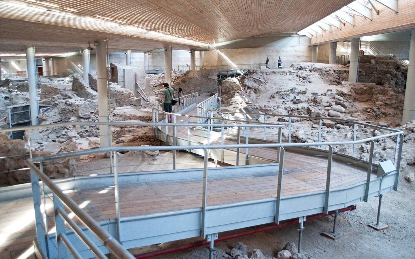Walkways through the ruins at Akrotiri