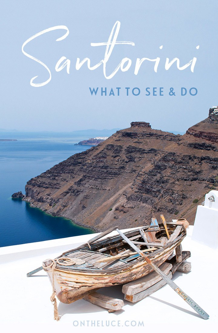 The top things to see and do in Fira, Santorini, a Greek island escape packed with domed churches, spectacular views, boat trips, sunsets and tasty food. #Fira #Santorini #Greece #GreekIslands #Cyclades