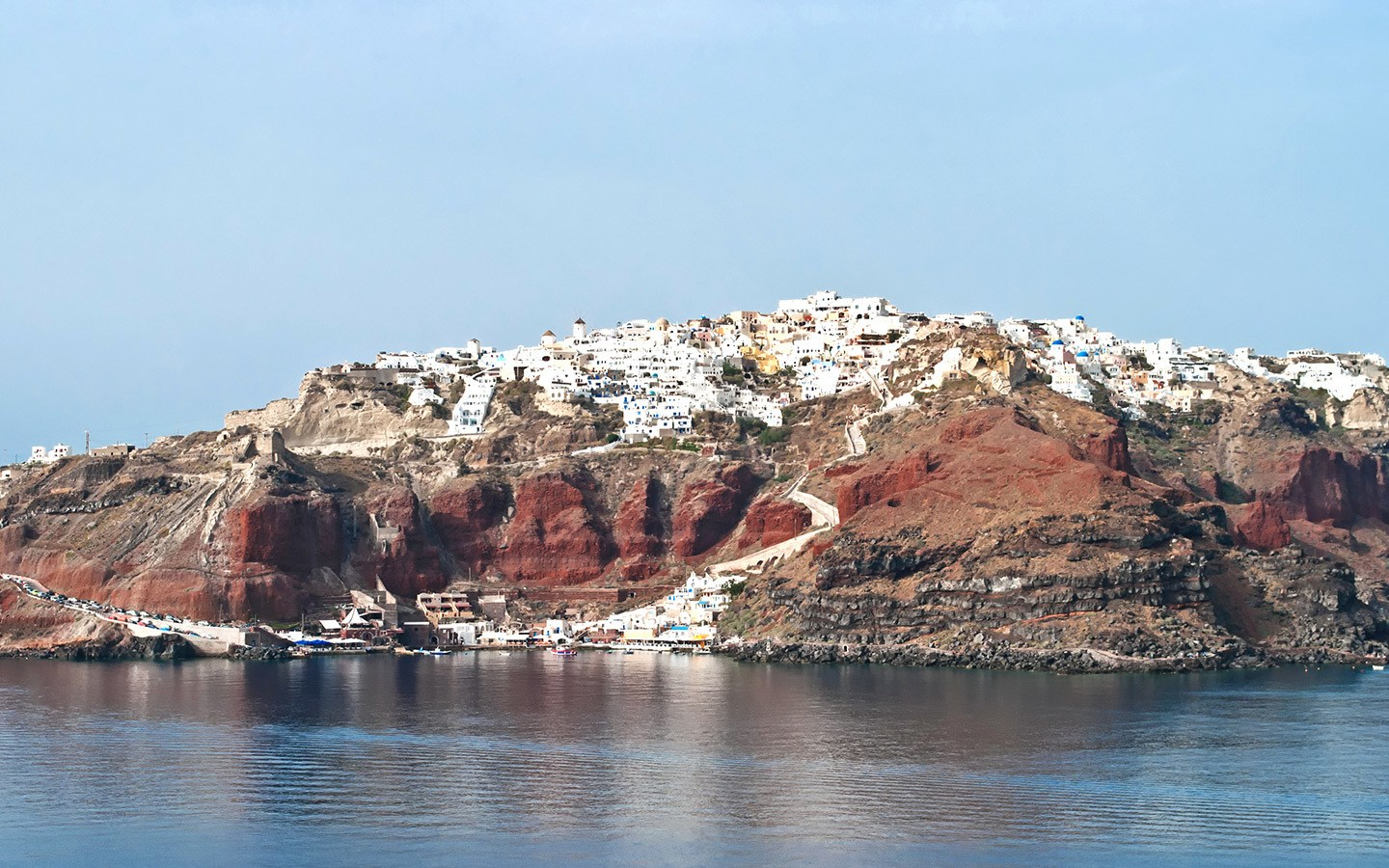 Views of Oia from a Santorini boat trip