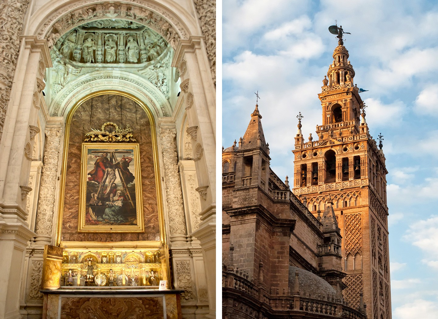 Seville cathedral interior and the Giralda bell tower