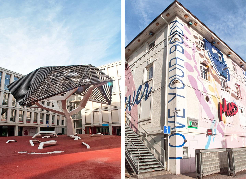 Modern art in Flon district of Lausanne, Switzerland