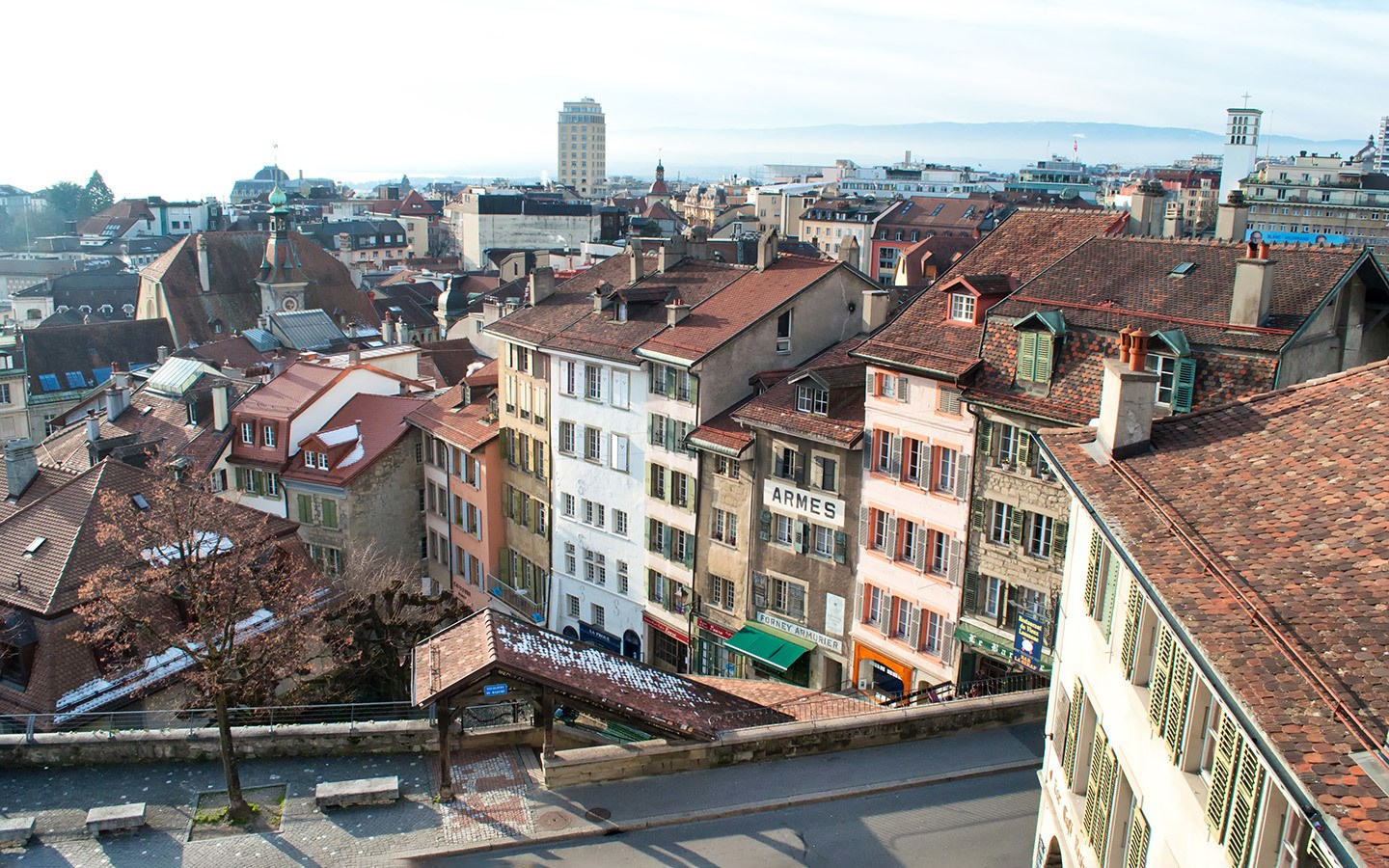 The historic old town of Lausanne, Switzerland