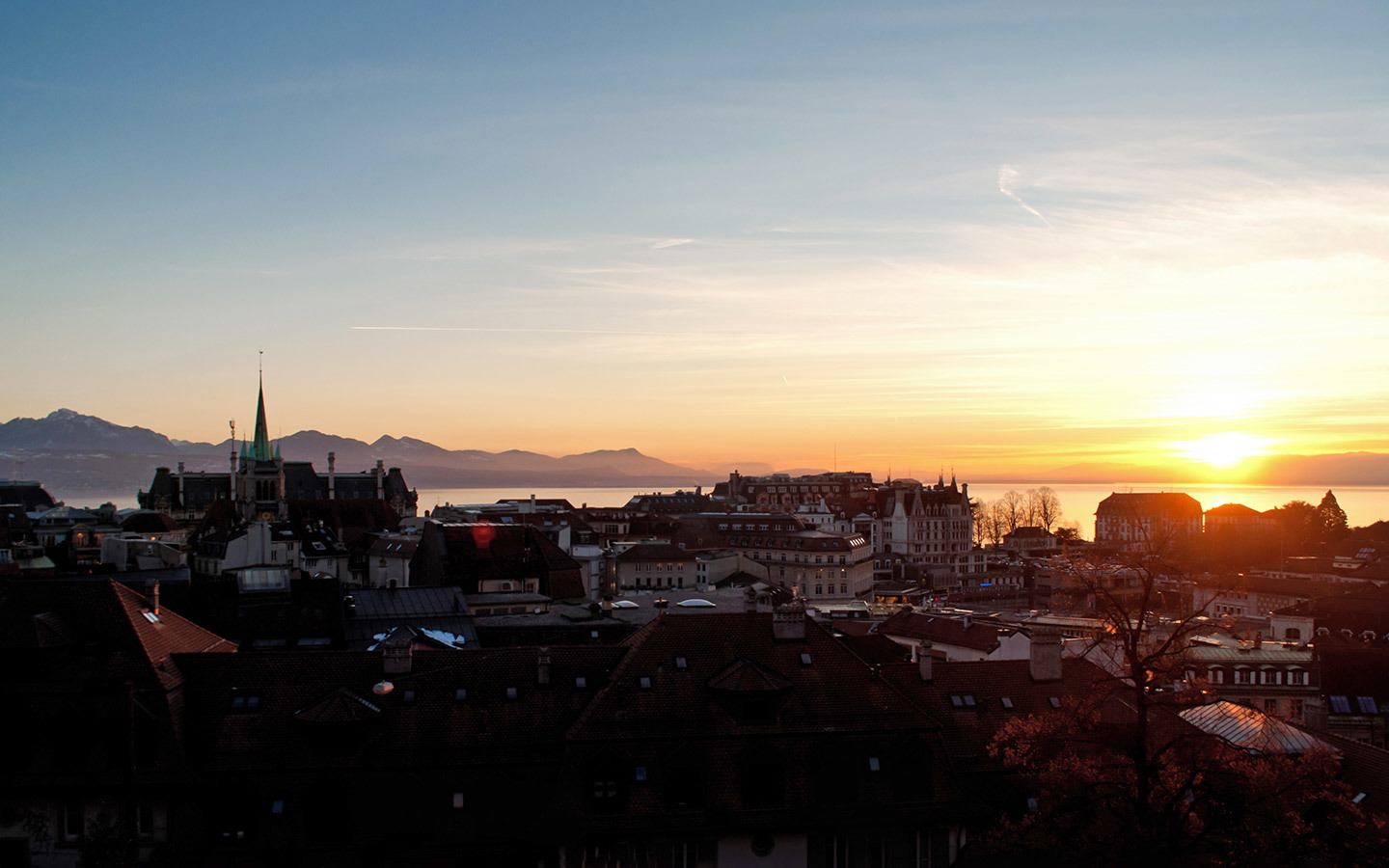Sunset over Lausanne from outside the cathedral