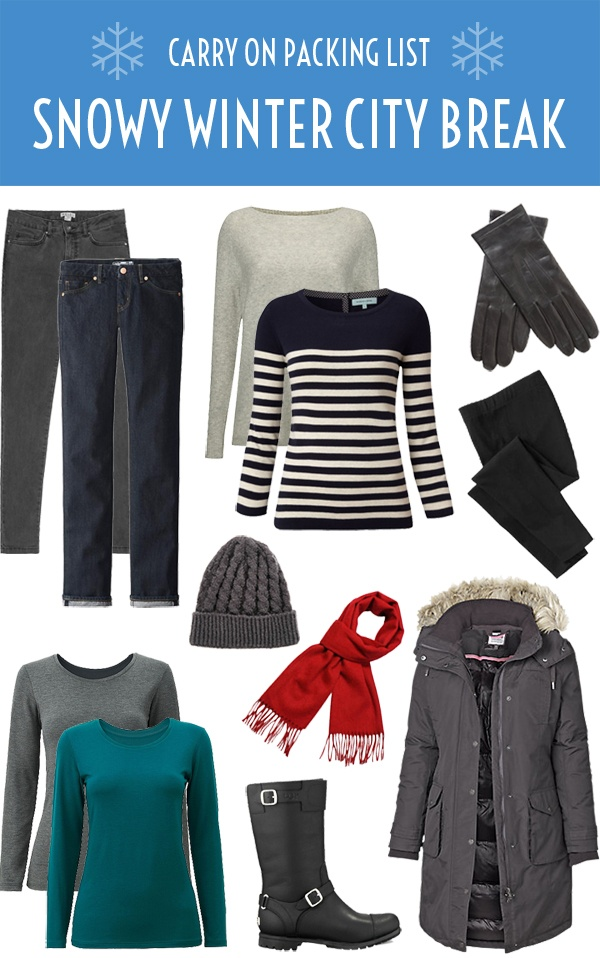 A winter carry on/hand luggage packing list – what to take with you to stay warm and look stylish on a snowy weekend city break to the Baltics or Scandinavia. #packinglist #winter #carryon