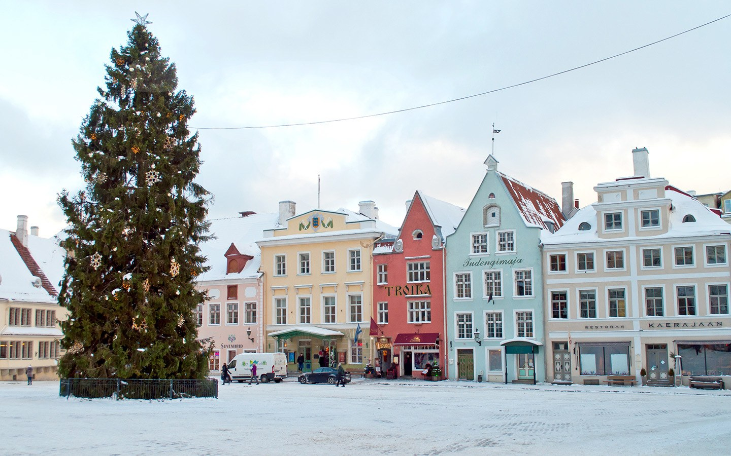 The snowy old town square in Tallinn, Estonia