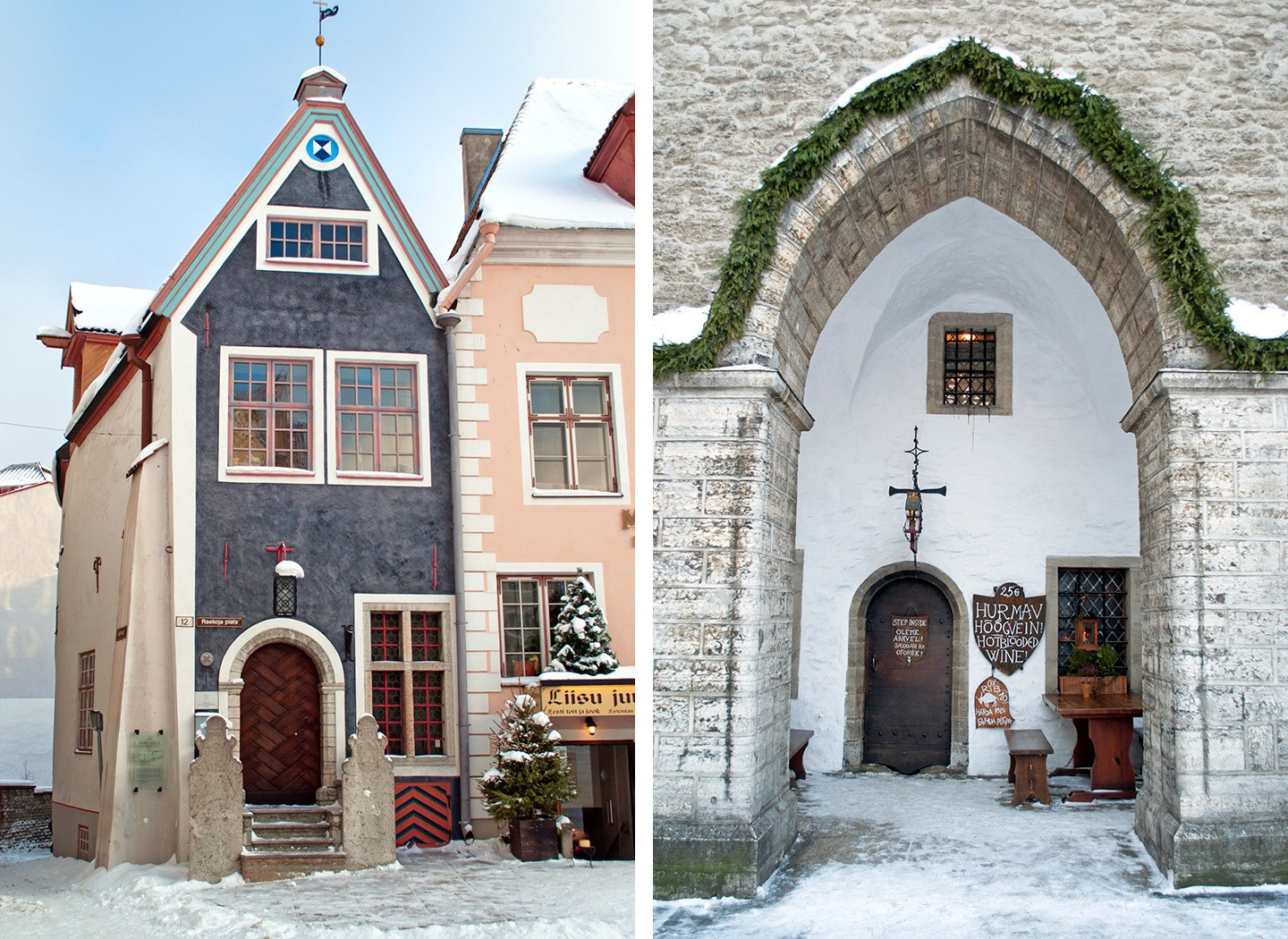Medieval builsings in the old town of Tallinn in winter
