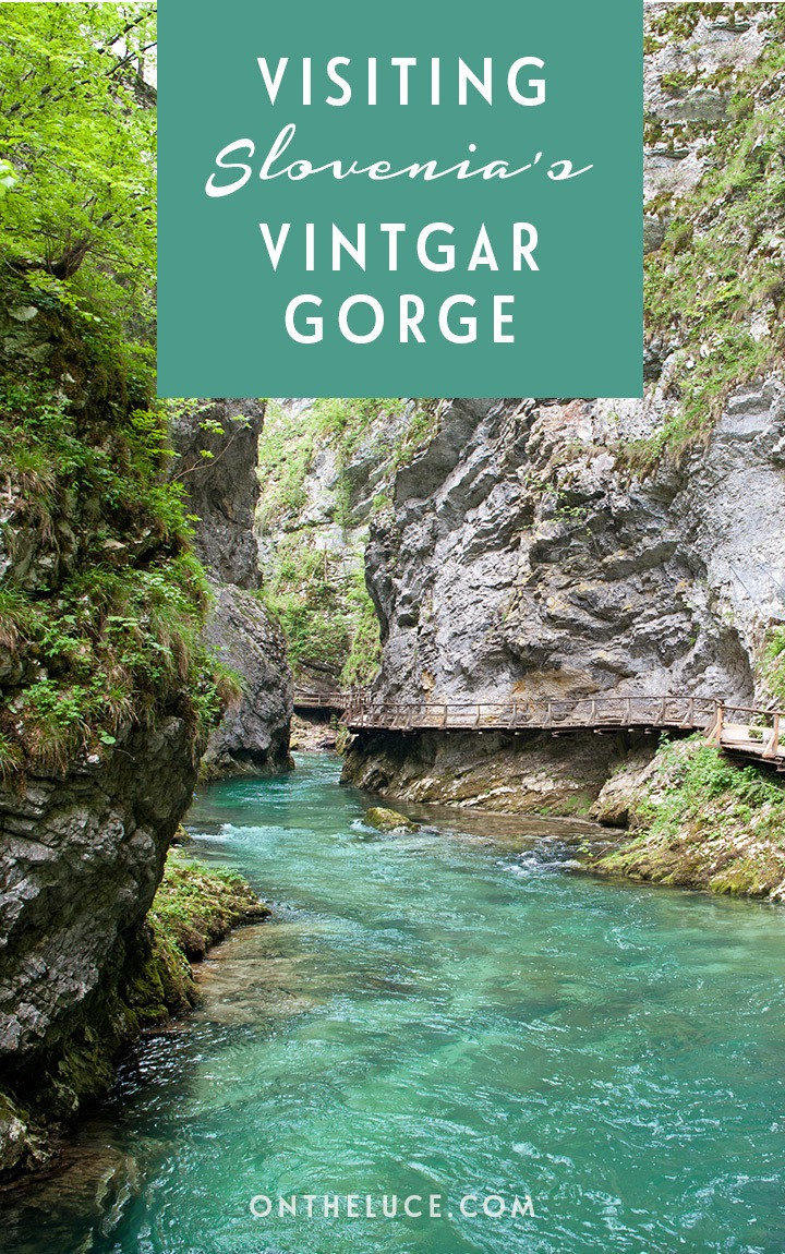 Just outside of Lake Bled in Slovenia, the Vintgar Gorge is a great day trip, with bright green waters and a 1600 metre network of wooden walkways and bridges to explore. #Slovenia #VintgarGorge #LakeBled