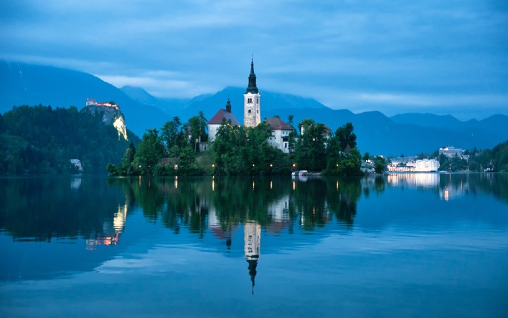Dusk at Lake Bled