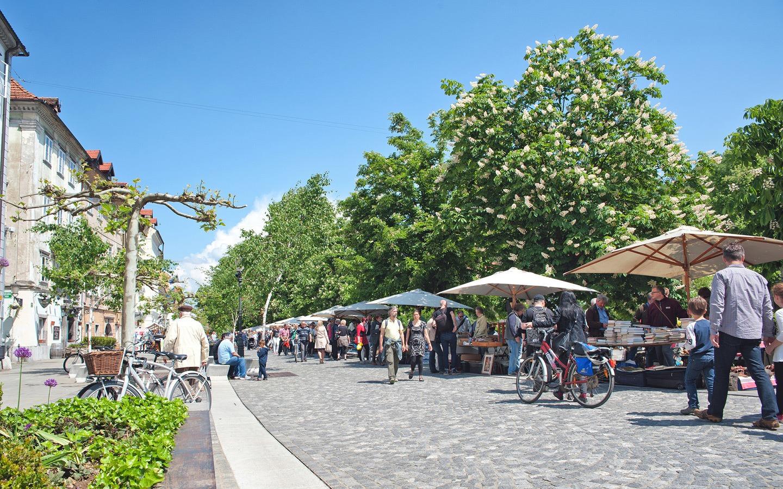 Sunday street market in Ljubljana, Slovenia