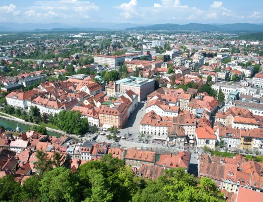 Views across Ljubljana from its hilltop castle
