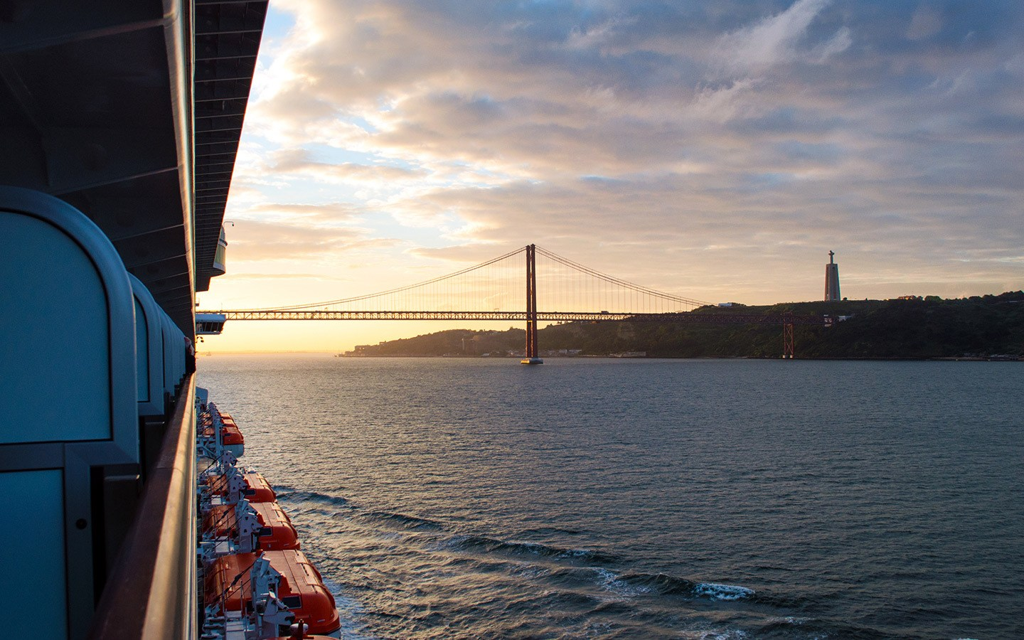 Sunrise in Lisbon froma P&O Canary Islands cruise