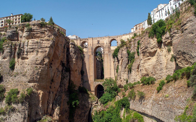 The Puente Nuevo in Ronda, Spain as seen from the El Tajo gorge