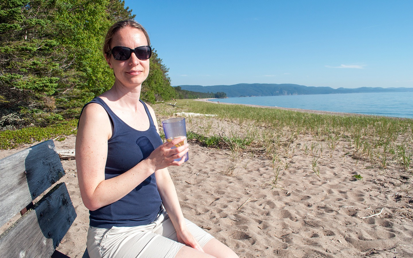 Drinks on the beach at Lake Superior Provincial Park