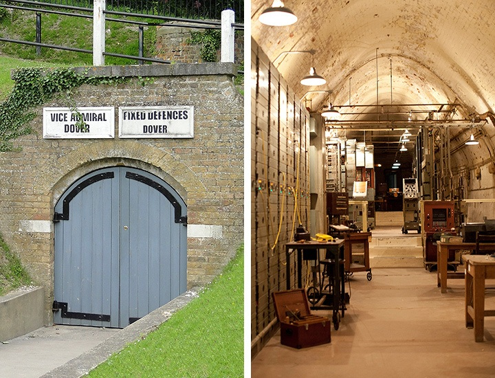 Entrance and interior of the Dover Castle secret wartime tunnels