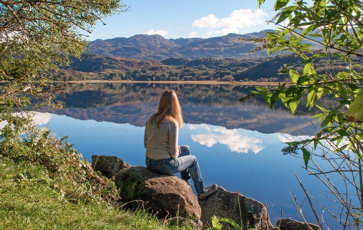 Llyn Dinas lake in Snowdonia
