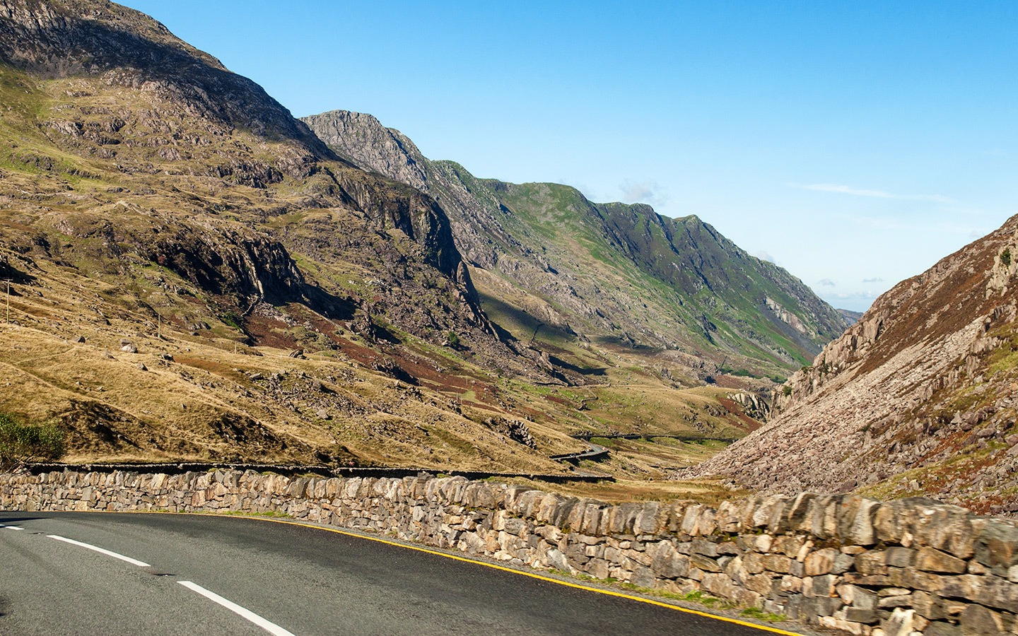 On the road down to Llanberis on a North Wales road trip
