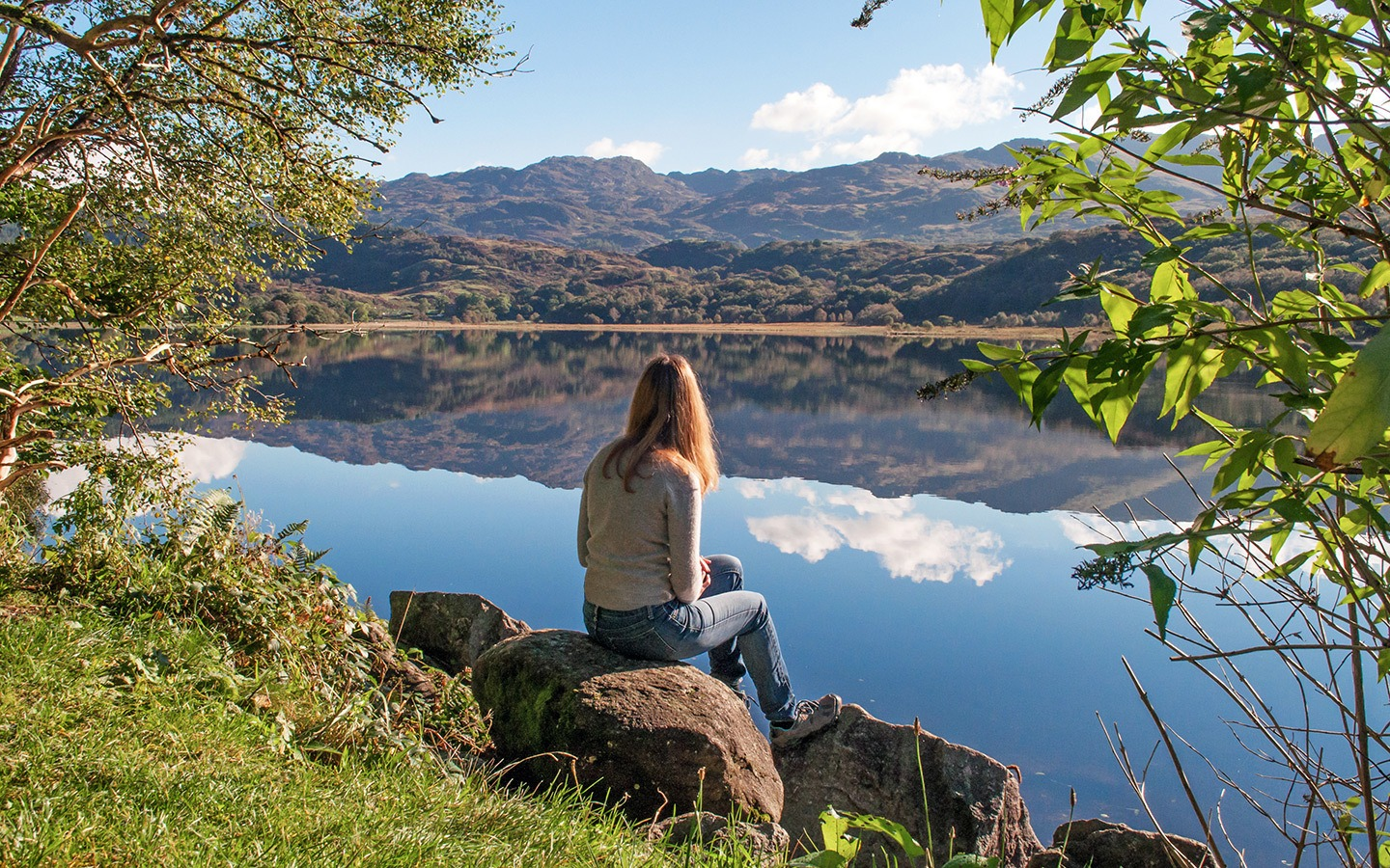 On the banks of Llyn Dinas lake in Snowdonia