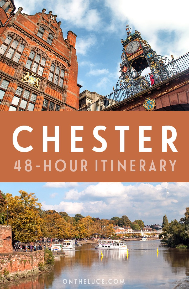 A guide to spending a weekend in Chester, Cheshire, with tips on what to see, do, eat and drink in this a 48-hour itinerary, including city walls, boat trips, historic streets and more. #Chester #Cheshire #England #VisitEngland #weekend #weekendbreak
